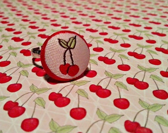 Cherry Button Adjustable Ring red jewellery