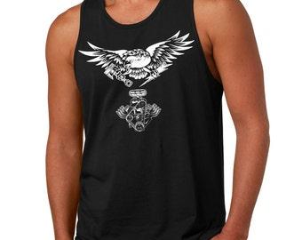 US eagle Car engine driver tank top racing racer tank eagle Tank muscle car Piston