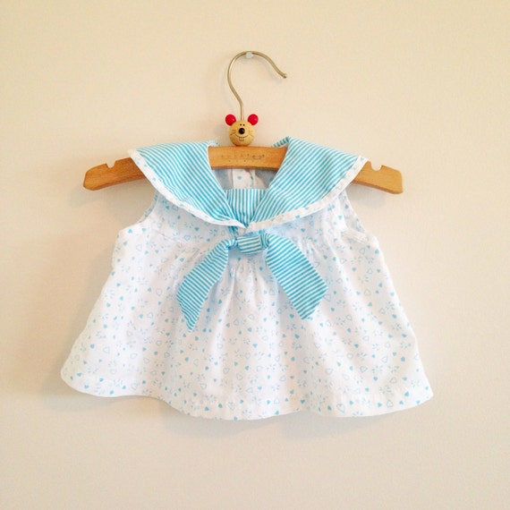 Vintage Baby Girl Sailor Dress Nautical Aqua Heart Print Sundress tunic shirt Summer infant clothes size 3-6 months