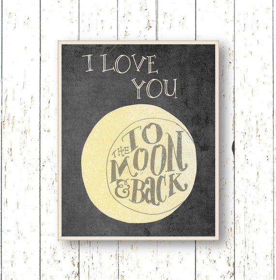 i love you to the moon and back art for children kids wall. Black Bedroom Furniture Sets. Home Design Ideas