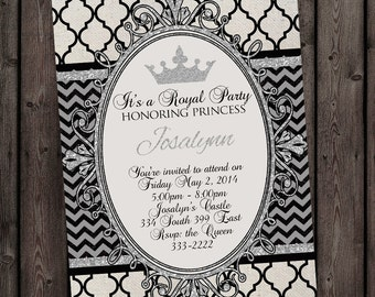 Royal Princess Party Digital Invitation, quick and fast delivery with free wording customization