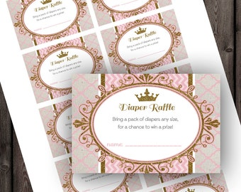 Princess baby shower diaper raffle tickets, pink and gold, royal baby shower, instant download at purchase, baby shower game, princess