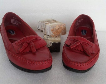 80s Dr Scholl's moc toe loafers / genuine leather / walking / slip on / red / flats / mens 8W