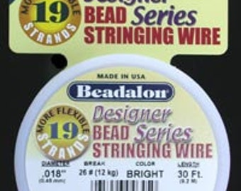 "Beadalon 19 Bright .018"" 30ft or 100ft Spools"