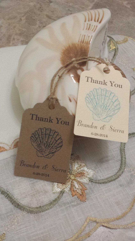 Wedding Favor Tags Beach : Personalized Beach Favor Tags 2 1/2 Wedding tags