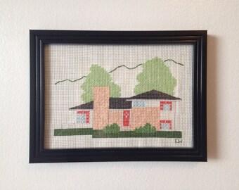 Country Mid-Century Split Level House Cross Stitch