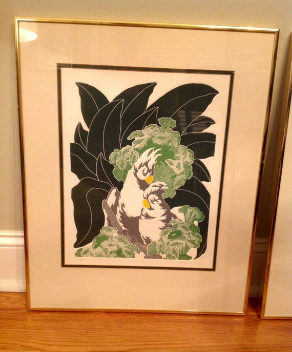 Gorgeous Framed Vintage G.Clark Sealy Etchings of Toucan & Cockatoo