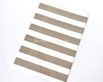 Favor Bags Rugby Stripe 12  Beige Rugby Stripe Gift Bags, Popcorn Bags, Candy Buffet Bags, Candy Bag, Tan Wedding, Baby Shower, Birthday
