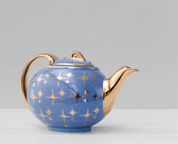 Vintage Hall China Teapot Gold Label Star Blue Gold Star Hall