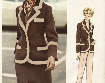 "Vogue Pattern 2602 Vogue America Bill Blass Misses'  Jacket, Skirt and Pants Sizes 10  Bust 32.5""  Hip 34.5"""