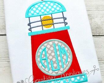 Monogram Lighthouse Digital Machine Embroidery Applique Design 4 sizes
