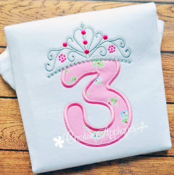 Princess Crown Birthday Number 3 Machine Embroidery Applique