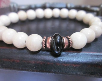 Black agate copper and wooden beads chakra stackable stretch yoga bracelet mens bracelet women's bracelet boho stretch bracelet bohemian