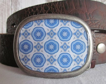 mens belt buckle women's belt buckle blue and silver circles and diamonds retro belt buckle ladies belt buckle gift for him gift for her