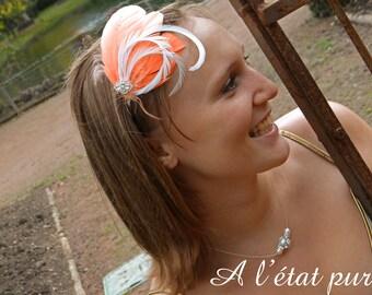 Headband plucks orange-colored and white