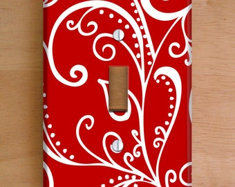 Silent Era, Ruby Red Vinyl Light Switch Cover, Outlet Cover, Wallplate, Home Decor, Swirls, Red and White, Elegant, Vinyl Wall Cover
