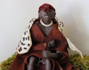 "Angelien Arts - Artdolls - Sculpted - Meet ""Sammi"" - Collectibles African Samburu Tribal Posable Clay Inspiring Imaginative Fashion Heritage"