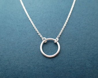 Simple, Sterling silver, Karma, Ring, Necklace, 10mm, Circle, Necklace, Modern, Minimal, Dainty, Jewelry, Best friend, Lover, Gift, Jewelry