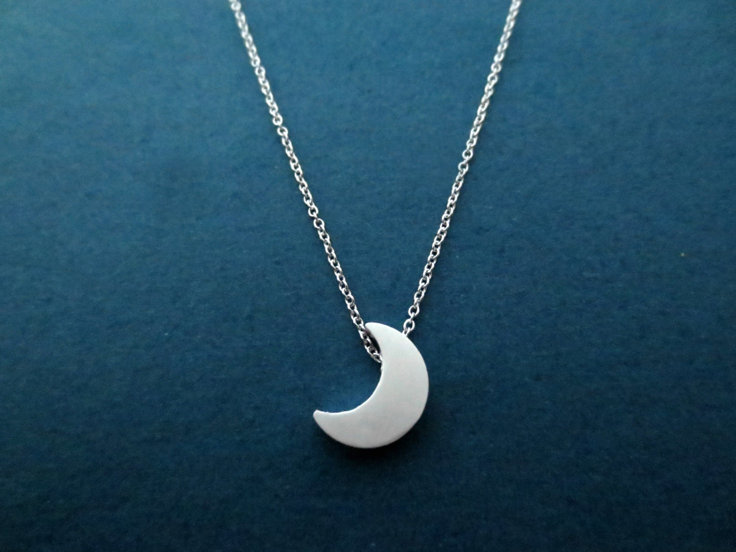 crescent moon silver necklace half moon jewelry