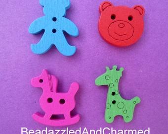 Baby Shower Nursery Embellishment Scrapbook Teddy Bear, Rocking Horse, Giraffe,  Mix Wooden Buttons assortment variety