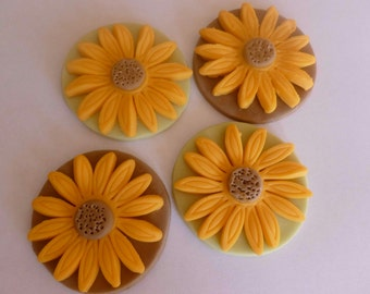 Fondant Sunflower Yellow Cupcake Toppers