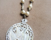 Mother of Pearl Dove Pendant on Handcrafted Necklace