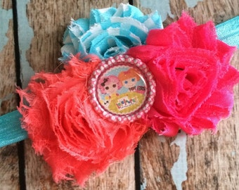 LALALOOPSY Button Dolls Shabby flower headband hair bow