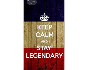 Apple iPhone Custom Case White Plastic Snap on - Keep Calm and Stay Legendary 5596