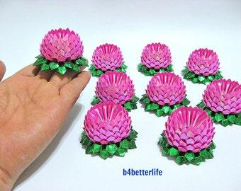 Lot of 9pcs Pink Color Mini Size Origami Lotus. (TX paper series). #FLT-90.