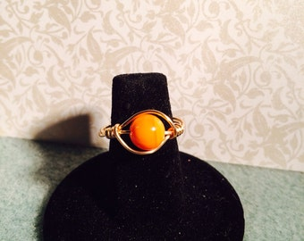 Orange shell wire wrapped ring