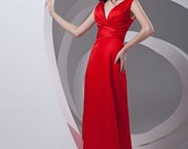 V-neck Red Evening Long Dresses/ Bodycon Prom Wedding Dress Zipper Back/ 2014 Simple Satin Junior Homecoming Party Prom Gown CLF008