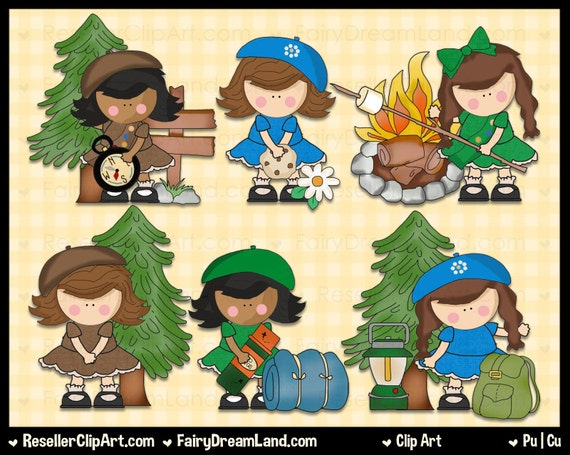 Girl Scout Camping Clipart Girls Go Scouting Digi...