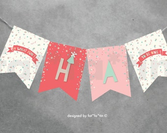 INSTANT DOWNLOAD Pastels Confetti Happy Birthday Bunting Banner | Oh What Fun To Be One 1st Birthday Party Decoration For Kids Girls PDF