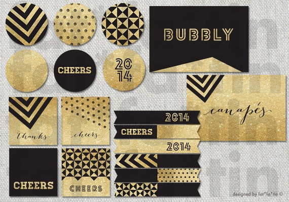 gold black glitter party decorations printable banners. Black Bedroom Furniture Sets. Home Design Ideas