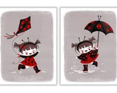 Ladybug Set by Amber Leaders 5x7, 8x10, 11x14 art prints