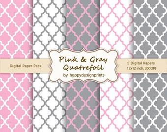 "Pink Gray Quatrefoil Moroccan Tiles Pattern Wallpaper Digital Paper Pack of 5, 300 dpi, 12""x12"" Instant Download Scrapbooking JPG"