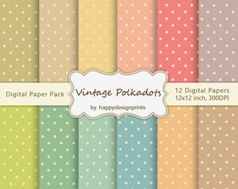 "Vintage Shabby Polkadots Pastel Wallpaper Digital Paper Pack of 12, 300 dpi, 12""x12"" Instant Download Pattern Paper Scrapbooking JPG"