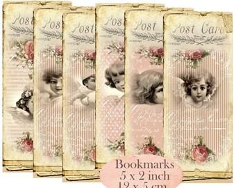 Angels Bookmarks Instant Download digital collage sheet E167 Vintage Paper