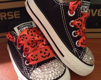 Black and Orange Halloween Bling Converse
