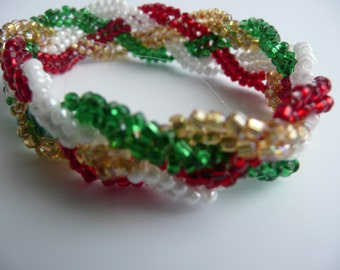 Child's Christmas Beaded Herringbone Bracelet. Beaded Bracelet, Christmas Bracelet, Child's Bracelet