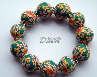 Vibrant chunky flowery bangle