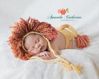 Newborn Lion Bonnet with Diaper Cover - Photography Prop