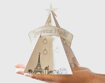 Sapin de Noël en Papier (Parisian Paper Christmas Tree) Decorate the tree with your own colors! Printable pdf- Table/Desk Decorations