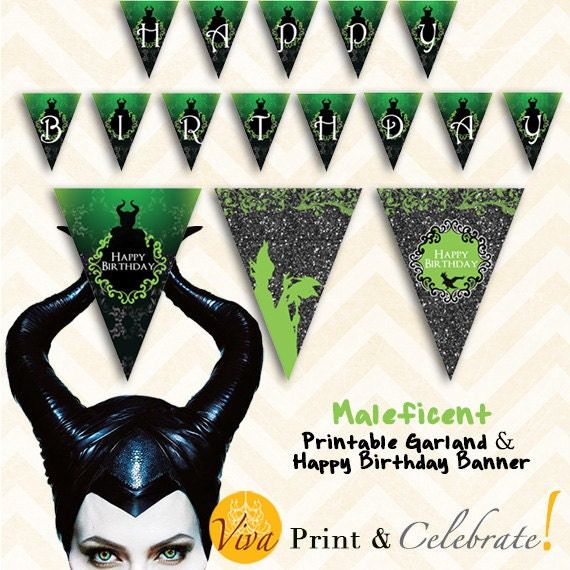 Maleficent Happy Birthday Banner And By VivaPrintCelebrate
