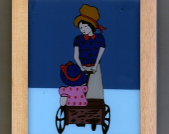 Mom with baby in pram, glass-paint