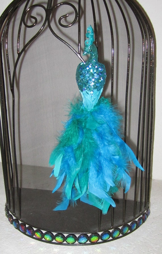 Teal glittered peacock ornament christmas by
