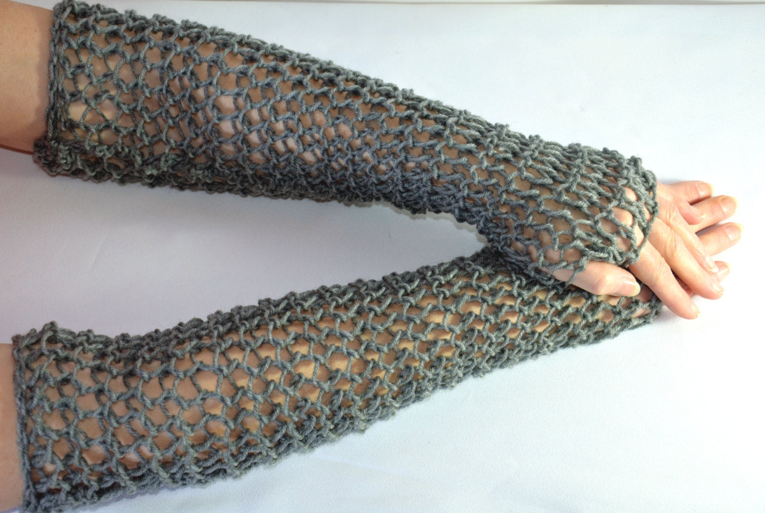 Knitted Chainmail Pattern : Chain Mail Sleeves hand knitted faux maille fingerless