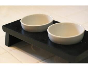 Small dog or cat food and water pet dish pet bowl ceramic black double diner feeder designer