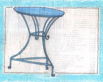SIMPLY GREEK - Blue Cafe Table - Greece - Original Mixed Media Art - Blue - White - Greek Text