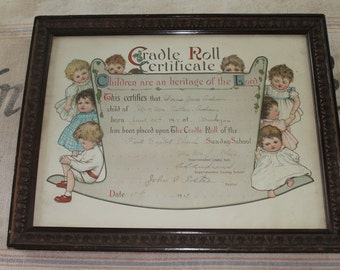 Antique 1919 Cradle Roll Birth Certificate with Wonderful Graphics!